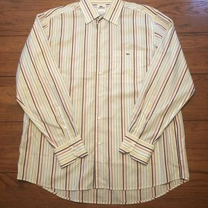 Men's Lacoste Striped LongSleeve Button Down Sz.44